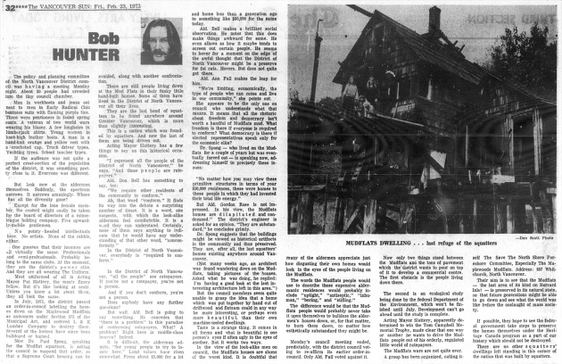 """Mudflats Dwelling... last refuge of the squatters,""  Vancouver Sun, February 23, 1973"